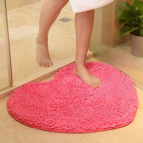 Private home textiles Dekorative teppiche Chenille carprt Ehe Zimmer Herz-Geformte tür matten Nicht-Slip Water Absorption Foot pad-C (20x24inch) 50x60cm