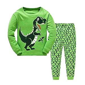Conjunto de Pijama con Estampado de Dinosaurio para bebés niños niñas Top y Pantalones Largos Ropa de Dormir 7