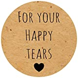 OSP Printed kraft effect 'For your happy tears' confetti / tissue wedding labels / stickers (70 per sheet (25mm wide), Kraft with black)