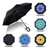 HISEASUN Parapluie Inversé Innovant Anti-UV Double Couche Coupe-Vent Mains Libres poignée en Forme C - Idéal pour Voyage et Voiture(Pluie de météorites)