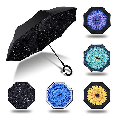 HISEASUN Parapluie Inversé Innovant Anti-UV Double Couche Coupe-Vent Mains Libres poignée en Forme C - Idéal pour Voyage et Voiture(Pluie de météorite...