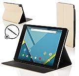 Forefront Cases® Google Nexus 9 8.9 Zoll Hülle Schutzhülle Tasche Bumper Folio Smart Case Cover Stand - R&um-Geräteschutz & intelligente Auto Schlaf/Wach Funktion inkl. Eingabestift (WEIß)