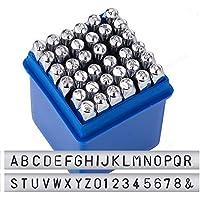 """BENECREAT 36 Pack (3 mm 1/8 """") Juego de sellos de letras y números, Caja de herramientas de estampado de sellos de metal perforado - Herramientas de acero de carbono duro galvanizado para estampado / perforación Metal, Joyería, Cuero, Madera"""
