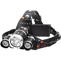LED Stirnlampe, icefox Super helle LED-Lampen, 6000 Lumen wasserdichter Scheinwerfer mit 4 Helligkeits-Modi. Perfekt zum Laufen, zum Campen, zum Wandern und zum Spazierengehen.