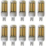 Aoxdi 10X LED SMD 5050 G9 8W Bulbs, Warm White, LED Corn Lamp 69x5050 Energy Saving ES LED Lights, Ultra Bright G9 LED Corn Lighting, AC220-240V