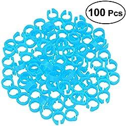 UKCOCO Clip de plástico en los anillos de la pierna etiqueta de pie para pollo aves de corral pequeñas gallo 100PCS (cielo azul)