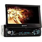 auna MVD-330 - Autoradio multimedia avec ecran retractable 18cm, Bluetooth, lecteur CD, port USB et slot SD (fonction kit mains-libres, tuner radio FM, telecommande)