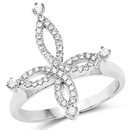 Johareez White Cubic Zirconia .925 Sterling Silver Infinity Cross Shape Ring