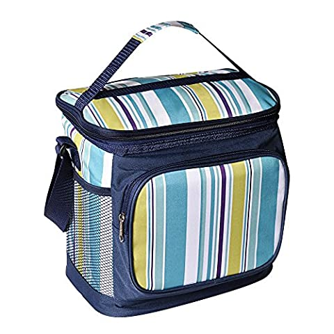 LUYADA 16 Can Picnic Cooler Bag Lunch Bag, Sapphire & White Stripe