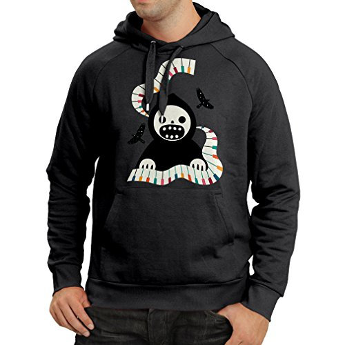 lepni.me Kapuzenpullover Halloween horror nights - The Death is playing on piano - cool scarry design (Large Schwarz - Nights Halloween Horror Voodoo