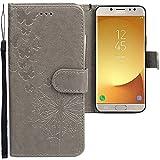 CLM-Tech Samsung Galaxy J5 2017 Hülle, PU Leder-Tasche mit Stand, Kartenfächern, Schmetterlinge Pusteblume grau, Lederhülle für Samsung Galaxy J5 (2017) DUOS