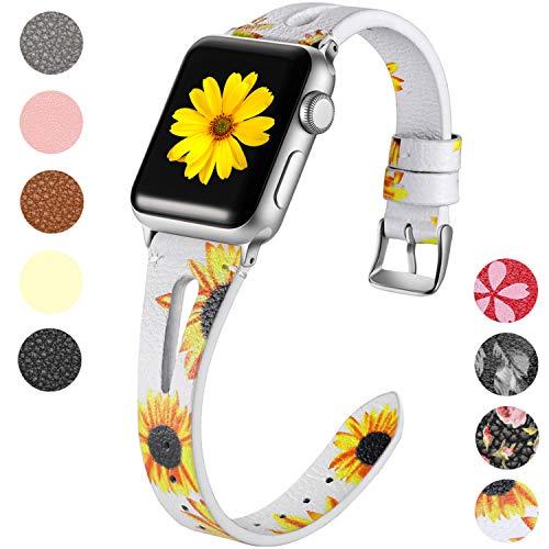 Maledan Lederarmband für Apple Watch Armband 38mm 40mm, Schlank Echtes Leder Uhrenarmband - Atmungsaktives Ersatz Armband für Apple Watch Series 4 Series3 Series2 Series1, Sonnenblume - Echte Serie