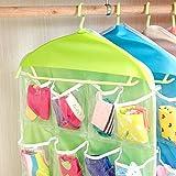 Generic 2 pink : 16 Pockets Socks Shoe Toy Underwear slippers Glasses Keys Sorting Storage Bag Door Wall Closet Hanging Organizer Bags