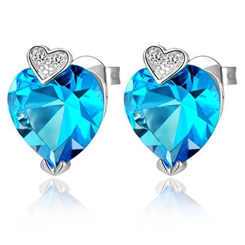 Versilbert Ohrringe, Damen Versilbert Schmuck Mode Bolzen Ohrring Herz Geformte Kristall - Kristall-herz-bolzen-ohrringe