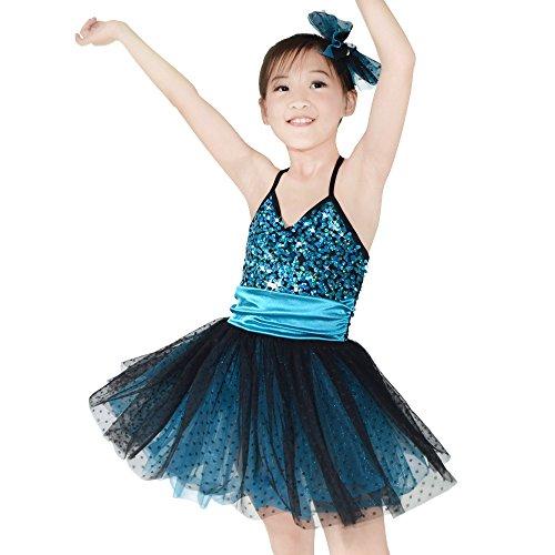 MiDee Pailletten Sling Ballett Ballettröckchen Kleid Tanz Kostüm Für Kleine Mädchen (Dary Blau, XSC)