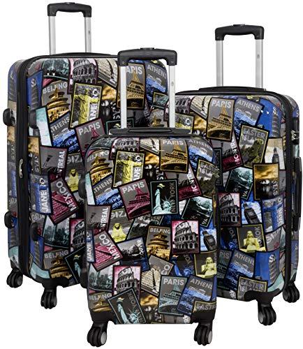 Trendyshop365 buntes Trolley-Set Hartschale Koffer-Set 3-teilig - Bedruckt Design Weltreise Rio Athen Paris