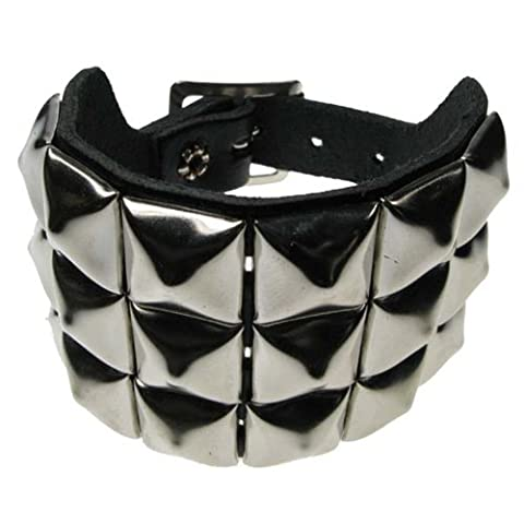 Stud Wristband - 3 row metal PYRAMID studs on leather