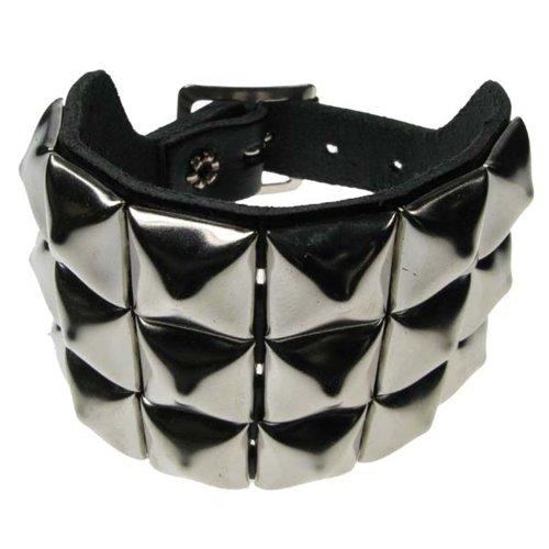 - Armband, 3 Reihen Pyramidennieten auf Metall Leder Armband -