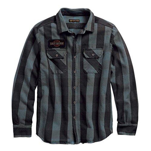 HARLEY-DAVIDSON® Men's Eagle Plaid Slim Fit Long Sleeve Shirt - 99095-18VM (S) (Harley Eagle Davidson Mens)