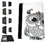 '003174–Cute Owl Face FUN Diseño Amazon Kindle Fire HD 71ª Generación de 2012TPU piel cartera funda Flip cover Book Wallet Stand Soporte Case