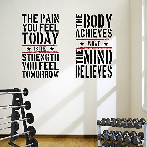 2große Home Gym Fitness Motivational Wand Aufkleber Zitate Gesunde Hervorragende Wert. (Große Wand-aufkleber-zitate)
