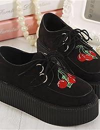 ZQ hug Zapatos de mujer-Tacón Robusto-Comfort / Punta Redonda-Sneakers a la Moda-Exterior / Casual-Semicuero-Negro / Marrón , black-us8 / eu39 / uk6 / cn39 , black-us8 / eu39 / uk6 / cn39