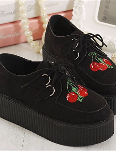 ZQ Scarpe Donna - Stringate - Casual - Creepers / Punta arrotondata - Plateau - Finta pelle - Nero , black-us8.5 / eu39 / uk6.5 / cn40 , black-us8.5 / eu39 / uk6.5 / cn40 black-us6.5-7 / eu37 / uk4.5-5 / cn37