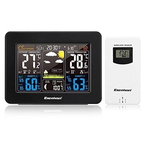 Excelvan Digital Wireless Wetterstation mit Farbdisplay, Alarm, Funkuhr, Innen- und Außensensoren, Temperaturanzeige, Wettervorhersage (PT3365)