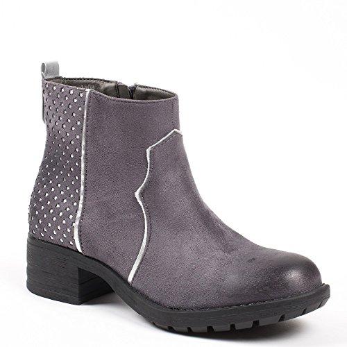 Ideal Shoes–Scarponcini traforati effetto camoscio Trisha Grigio