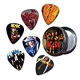 ACDC Set of 6 Loose Guitar Médiators in Tin ( Collection C )