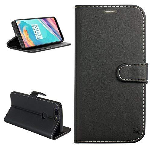 Oneplus 5T Hülle, KingShark [Ständer Funktion] Oneplus 5T Schutzhülle, Premium PU Leder Flip Tasche Case mit Integrierten Kartensteckplätzen und Ständer für Oneplus 5T-Leder Serie - Schwarz
