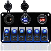 DCFlat 6 Gang circuito LED coche Marine Boat Rocker Switch panel Dual USB interruptor Protección contra sobrecarga (6 pandilla panel de aluminio)