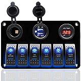 DCFlat 4 Gang/6-Gang/8-Gang Schaltung LED Auto Marine Boat Wippschalter Panel Dual USB Wasserdicht Power Socket Breaker Voltmeter Überlastschutz (6 Gang Aluminium Panel)