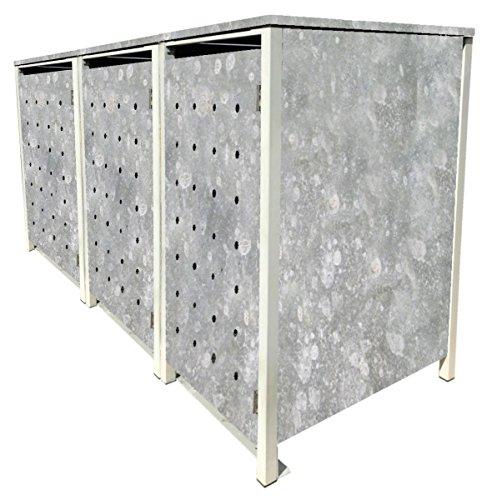 BBT@ | Hochwertige Mülltonnenbox für 3 Tonnen je 240 Liter mit Klappdeckel in Zink / Aus stabilem pulver-beschichtetem Metall / Ohne Stanzung / In verschiedenen Farben sowie mit unterschiedlichen Blech-Stanzungen erhältlich / Mülltonnenverkleidung Müllboxen Müllcontainer - 2