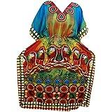 Mogul Interior Maxi Caftan Ethnic Printed Beach Hippie Evening Wear Kimono Dress XXXL