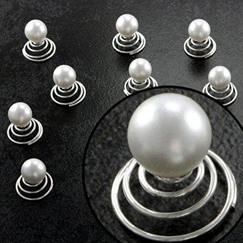 Curlies Haar Perlen Haarschmuck Spangen Stecker Hochzeit Konfirmation Kommunion Frisur Abschlussball Abi-Ball Braut Brautfrisur Hochsteckfrisur, Menge:24er-Set