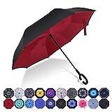 HISEASUN Parapluie Inversé Innovant Anti-UV Double Couche Coupe-Vent Mains Libres poignée en Forme C - Idéal pour Voyage et Voiture(Vin rouge)