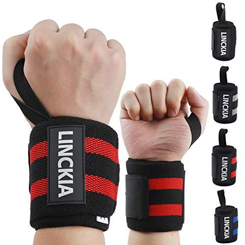 LINCKIA Handgelenk Bandagen, 60 cm Profi Handgelenkbandage Wrist Wraps, Innovative 85% Natürliche Baumwolle, 3D Logo für Fitness, Bodybuilding, Kraftsport, Crossfit, Squash oder Tennis (red)