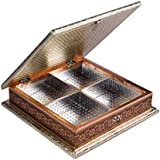 "Impulse Wooden Meenakari Mukhwas Box/Dry Fruit Box/Decorative Item (10""x 10"" X 2.25"" Inches) - Pink & Silver"