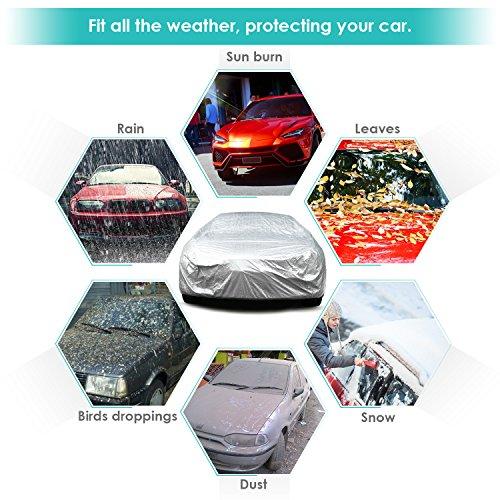 INTEY-Copriauto-Telo220T-Copriauto-Auto-Impermeabile-Pieghevole-AntiCopriauto-con-cotone-UV-Anti-Protezione-contro-la-PioggiaSole-Ghiaccio480175120cmArgento
