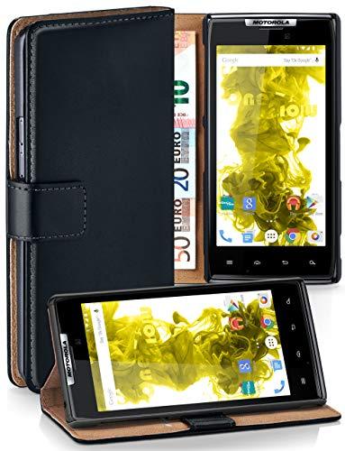 moex® Booklet mit Flip Funktion [360 Grad Voll-Schutz] für Motorola RAZR   Geldfach und Kartenfach + Stand-Funktion und Magnet-Verschluss, Schwarz (Razr Flip Handys)