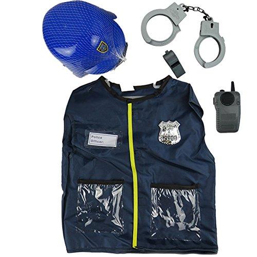 Biback Polizei-Kostüm-Set – Bestehend aus Mantel, Hut, Handschellen, Pfeife und Walkie-Talkie