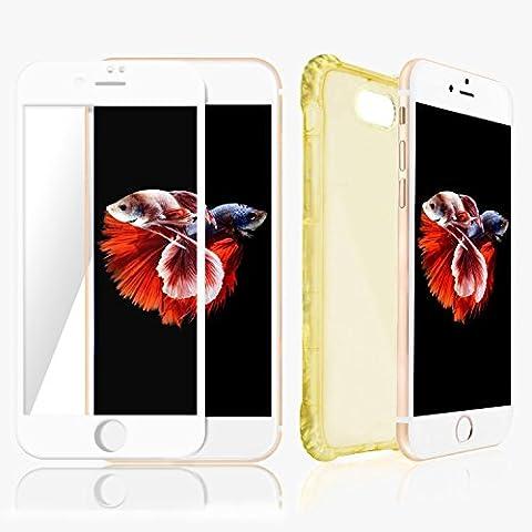 Coque iPhone 7 Plus Or Transparent & Protecteur d'écran (Bord Blanc) Meilleure 360° Protection Invisible pour téléphone Apple - Technologie Anti-glissement et de Pare-chocs d'air qui Empêche la Casse