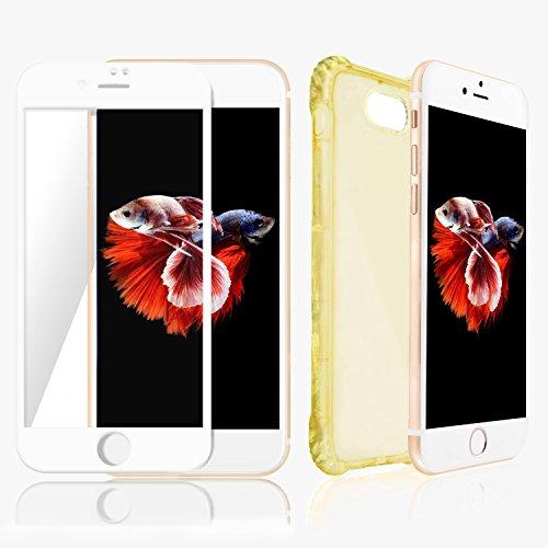 Custodia iPhone 7Plus Chiaro ORO & Protezione Schermo Bianco SWISS-QA, Migliore Cover Invisibile per Apple Phone di Alta Qualità Antiscivolo Ergonomica, Nuova Tecnologia Bumper per Evitare la Rottura