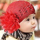"""Oyedens Fotografia Bebes Newborn Photography Props Cinta De Cabeza Los NiñOs PequeñOs Infantil De La Flor Del Bebé De La Venda Del CordóN Headwear Sombrero De Ganchillo (36-48cm / 14.2 """"- 18.9"""", Rojo)"""