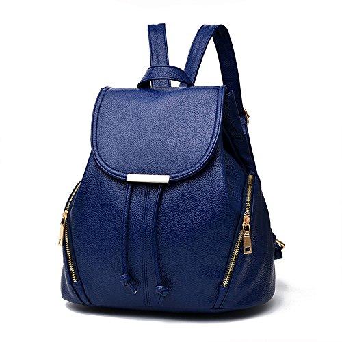 Klassisch Frauen Rucksack Handtasche Große Kapazität PU-Leder Schulrucksäcke Damen Rücksack Freizeitrucksack Mariner Rucksack