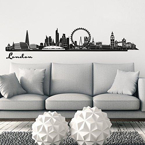 Preisvergleich Produktbild Wandkings Skyline Wandaufkleber Wandtattoo - 125 x 30 cm in schwarz - Deine Stadt wählbar - London