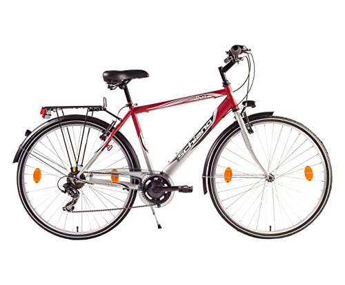 F.lli Schiano Trekking Ares Cambio Power Bicicletta, Rosso/Argento, 28
