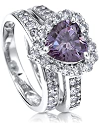 BERRICLE Rhodium Plated Sterling Silver Cubic Zirconia CZ Halo Heart Engagement Ring Set