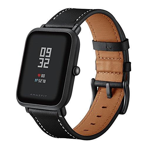 Aresh für Huami Amazfit Bip Armband Leder, Verstellbare Ersatz Sport Ersatz 20MM Armband zubehör Gurtbänder für Huami Amazfit Bip Jugend Fitness Uhr(HM-Schwarz) -